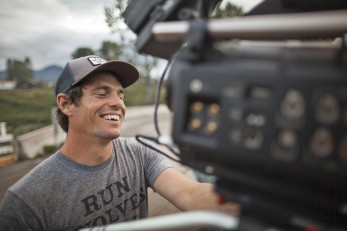 Ben Knight takes a welcome break from filming concrete all day in a scene from DAMNATION. Photo: Damnation Collection