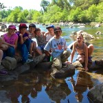 Heather poses with her group of River Science students after a long day of education!