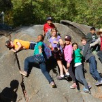 Students climb around at the Marshall Gold Discovery State Historic Park with Heather!