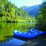 Rafts in the morning on the Middle Fork American River.