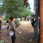 ropes challenge course-kids climbing